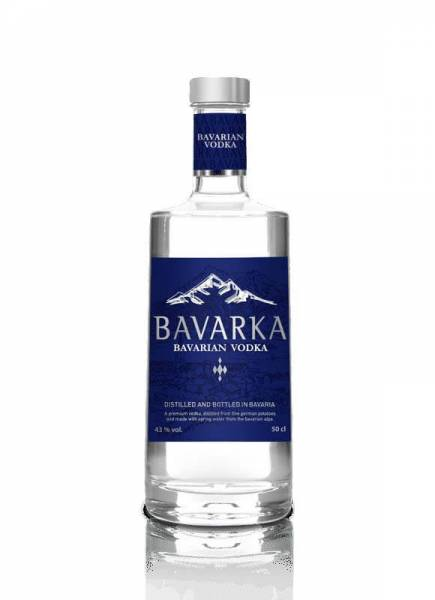Bavarka Bavarian Vodka 43% 0,5 Liter inklusive BAVARKA Glas 350 ml, 2 cl geeicht & BAVARKA Dose