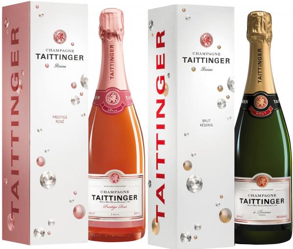 Taittinger Geschenkset - Brut Reserve + Brut Prestige Rose 0,75 Liter