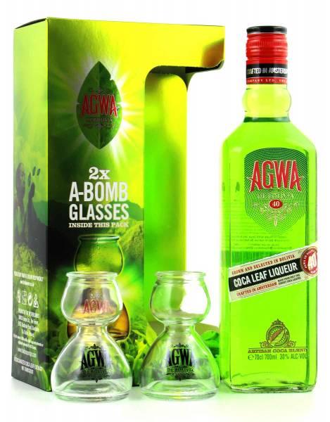 Agwa de Bolivia + 2 Gläser - Coca Leaf Likör 0,7 Liter