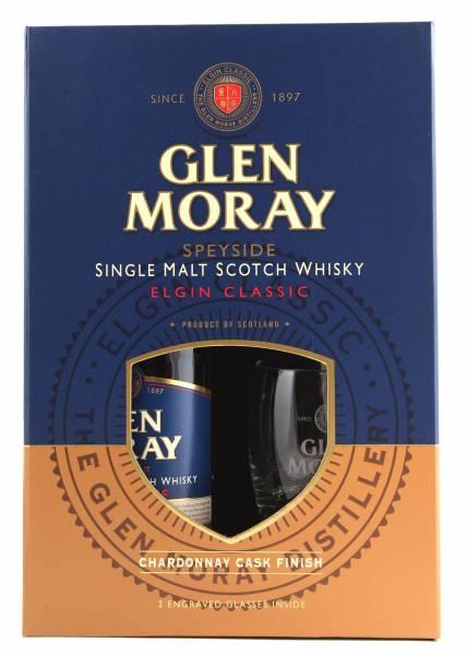 Glen Moray Chardonnay Cask Finish + 2 Gläser 0,7l